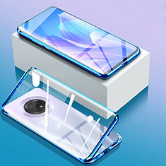 Coque Rebord Bumper Luxe Aluminum Metal Miroir 360 Degres Housse Etui Aimant pour Huawei Enjoy 20 Plus 5G Bleu