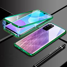 Coque Rebord Bumper Luxe Aluminum Metal Miroir 360 Degres Housse Etui Aimant pour Huawei Honor 30 Lite 5G Vert
