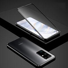 Coque Rebord Bumper Luxe Aluminum Metal Miroir 360 Degres Housse Etui Aimant pour Huawei Honor 30 Noir