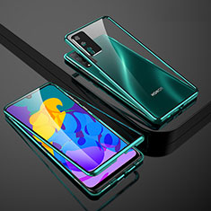 Coque Rebord Bumper Luxe Aluminum Metal Miroir 360 Degres Housse Etui Aimant pour Huawei Honor Play4T Pro Vert