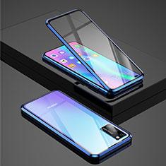 Coque Rebord Bumper Luxe Aluminum Metal Miroir 360 Degres Housse Etui Aimant pour Huawei Honor View 30 5G Bleu