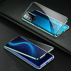 Coque Rebord Bumper Luxe Aluminum Metal Miroir 360 Degres Housse Etui Aimant pour Huawei Honor X10 5G Vert