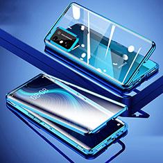 Coque Rebord Bumper Luxe Aluminum Metal Miroir 360 Degres Housse Etui Aimant pour Huawei Honor X10 Max 5G Bleu