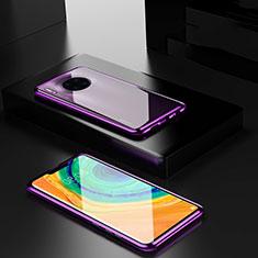 Coque Rebord Bumper Luxe Aluminum Metal Miroir 360 Degres Housse Etui Aimant pour Huawei Mate 30 Pro 5G Violet