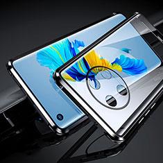 Coque Rebord Bumper Luxe Aluminum Metal Miroir 360 Degres Housse Etui Aimant pour Huawei Mate 40 Noir