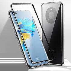 Coque Rebord Bumper Luxe Aluminum Metal Miroir 360 Degres Housse Etui Aimant pour Huawei Mate 40 Pro Noir
