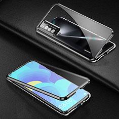 Coque Rebord Bumper Luxe Aluminum Metal Miroir 360 Degres Housse Etui Aimant pour Huawei Nova 7 5G Noir
