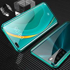 Coque Rebord Bumper Luxe Aluminum Metal Miroir 360 Degres Housse Etui Aimant pour Huawei Nova 7 Pro 5G Vert