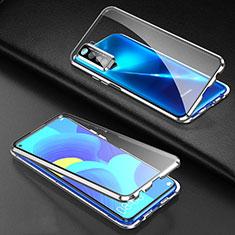 Coque Rebord Bumper Luxe Aluminum Metal Miroir 360 Degres Housse Etui Aimant pour Huawei P40 Lite 5G Argent