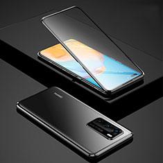 Coque Rebord Bumper Luxe Aluminum Metal Miroir 360 Degres Housse Etui Aimant pour Huawei P40 Noir