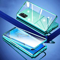 Coque Rebord Bumper Luxe Aluminum Metal Miroir 360 Degres Housse Etui Aimant pour OnePlus 8T 5G Vert