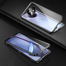 Coque Rebord Bumper Luxe Aluminum Metal Miroir 360 Degres Housse Etui Aimant pour Oppo Ace2 Noir