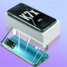 Coque Rebord Bumper Luxe Aluminum Metal Miroir 360 Degres Housse Etui Aimant pour Oppo K7x 5G Vert