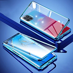 Coque Rebord Bumper Luxe Aluminum Metal Miroir 360 Degres Housse Etui Aimant pour Oppo Reno4 Lite Bleu