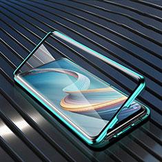 Coque Rebord Bumper Luxe Aluminum Metal Miroir 360 Degres Housse Etui Aimant pour Oppo Reno4 Z 5G Vert