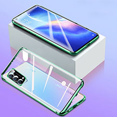 Coque Rebord Bumper Luxe Aluminum Metal Miroir 360 Degres Housse Etui Aimant pour Oppo Reno5 5G Vert