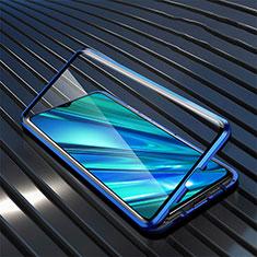Coque Rebord Bumper Luxe Aluminum Metal Miroir 360 Degres Housse Etui Aimant pour Realme 5i Bleu