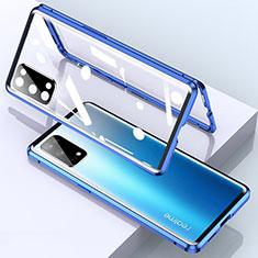 Coque Rebord Bumper Luxe Aluminum Metal Miroir 360 Degres Housse Etui Aimant pour Realme X7 5G Bleu