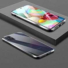 Coque Rebord Bumper Luxe Aluminum Metal Miroir 360 Degres Housse Etui Aimant pour Samsung Galaxy A71 5G Noir
