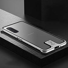 Coque Rebord Bumper Luxe Aluminum Metal Miroir 360 Degres Housse Etui Aimant pour Sony Xperia 5 II Argent