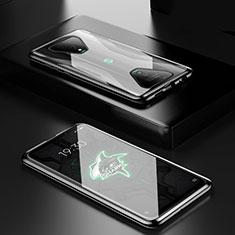 Coque Rebord Bumper Luxe Aluminum Metal Miroir 360 Degres Housse Etui Aimant pour Xiaomi Black Shark 3 Noir