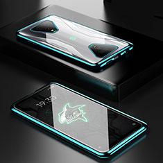 Coque Rebord Bumper Luxe Aluminum Metal Miroir 360 Degres Housse Etui Aimant pour Xiaomi Black Shark 3 Vert