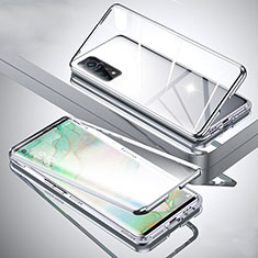 Coque Rebord Bumper Luxe Aluminum Metal Miroir 360 Degres Housse Etui Aimant pour Xiaomi Mi 10T Pro 5G Argent