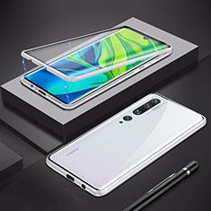 Coque Rebord Bumper Luxe Aluminum Metal Miroir 360 Degres Housse Etui Aimant pour Xiaomi Mi Note 10 Argent