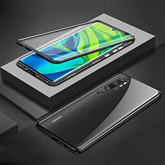 Coque Rebord Bumper Luxe Aluminum Metal Miroir 360 Degres Housse Etui Aimant pour Xiaomi Mi Note 10 Noir