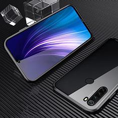 Coque Rebord Bumper Luxe Aluminum Metal Miroir 360 Degres Housse Etui Aimant pour Xiaomi Redmi Note 8 Noir