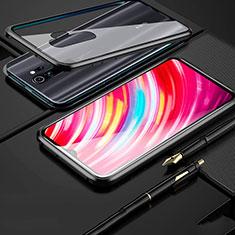 Coque Rebord Bumper Luxe Aluminum Metal Miroir 360 Degres Housse Etui Aimant pour Xiaomi Redmi Note 8 Pro Noir