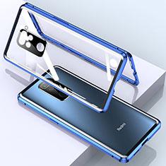 Coque Rebord Bumper Luxe Aluminum Metal Miroir 360 Degres Housse Etui Aimant pour Xiaomi Redmi Note 9 Bleu