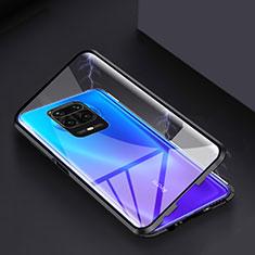 Coque Rebord Bumper Luxe Aluminum Metal Miroir 360 Degres Housse Etui Aimant pour Xiaomi Redmi Note 9 Pro Noir