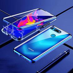 Coque Rebord Bumper Luxe Aluminum Metal Miroir 360 Degres Housse Etui Aimant T01 pour Huawei Honor View 20 Bleu