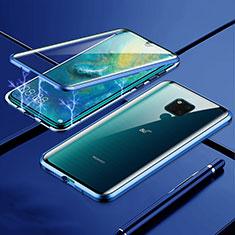 Coque Rebord Bumper Luxe Aluminum Metal Miroir 360 Degres Housse Etui Aimant T01 pour Huawei Mate 20 X 5G Bleu