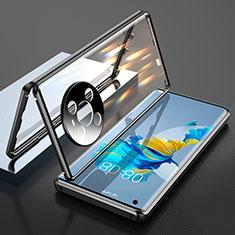Coque Rebord Bumper Luxe Aluminum Metal Miroir 360 Degres Housse Etui Aimant T01 pour Huawei Mate 40 Noir