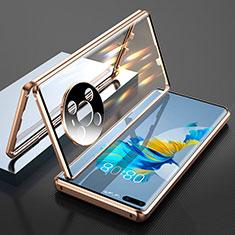Coque Rebord Bumper Luxe Aluminum Metal Miroir 360 Degres Housse Etui Aimant T01 pour Huawei Mate 40 Pro Or