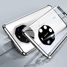 Coque Rebord Bumper Luxe Aluminum Metal Miroir 360 Degres Housse Etui Aimant T01 pour Huawei Mate 40 RS Blanc