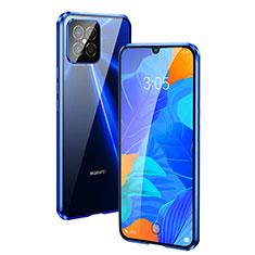 Coque Rebord Bumper Luxe Aluminum Metal Miroir 360 Degres Housse Etui Aimant T01 pour Huawei Nova 8 SE 5G Bleu