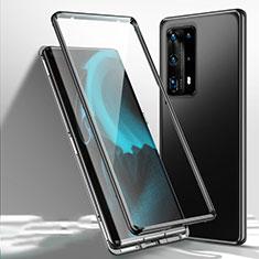 Coque Rebord Bumper Luxe Aluminum Metal Miroir 360 Degres Housse Etui Aimant T01 pour Huawei P40 Pro+ Plus Noir