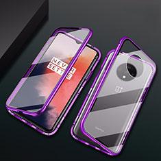 Coque Rebord Bumper Luxe Aluminum Metal Miroir 360 Degres Housse Etui Aimant T01 pour OnePlus 7T Violet