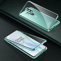 Coque Rebord Bumper Luxe Aluminum Metal Miroir 360 Degres Housse Etui Aimant T01 pour OnePlus 8 Pro Vert