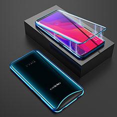 Coque Rebord Bumper Luxe Aluminum Metal Miroir 360 Degres Housse Etui Aimant T01 pour Oppo Find X Bleu