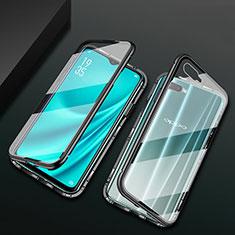 Coque Rebord Bumper Luxe Aluminum Metal Miroir 360 Degres Housse Etui Aimant T01 pour Oppo R15X Noir