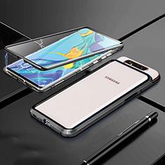 Coque Rebord Bumper Luxe Aluminum Metal Miroir 360 Degres Housse Etui Aimant T01 pour Samsung Galaxy A80 Noir