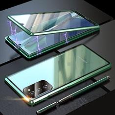 Coque Rebord Bumper Luxe Aluminum Metal Miroir 360 Degres Housse Etui Aimant T01 pour Samsung Galaxy Note 20 5G Vert