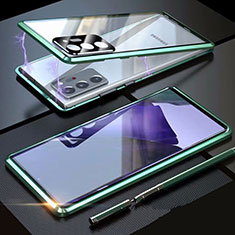 Coque Rebord Bumper Luxe Aluminum Metal Miroir 360 Degres Housse Etui Aimant T01 pour Samsung Galaxy Note 20 Ultra 5G Vert