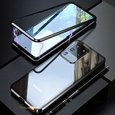 Coque Rebord Bumper Luxe Aluminum Metal Miroir 360 Degres Housse Etui Aimant T01 pour Samsung Galaxy S20 Ultra 5G Noir