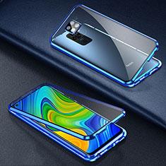 Coque Rebord Bumper Luxe Aluminum Metal Miroir 360 Degres Housse Etui Aimant T01 pour Xiaomi Redmi 10X 4G Bleu