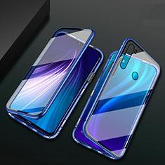 Coque Rebord Bumper Luxe Aluminum Metal Miroir 360 Degres Housse Etui Aimant T01 pour Xiaomi Redmi Note 8 Bleu